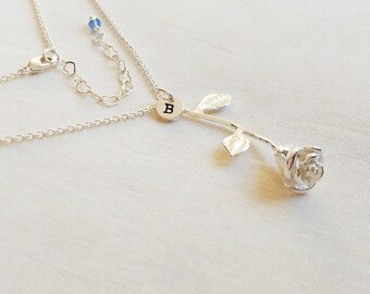 Rose Necklace, Personalized Initial,Rose charm, Birthday stone,Silver chain Necklace for BFF ,Valentine's Day gift, gift for her,Mom