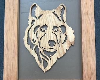 Wolf Framed Wooden Scroll Cut Art