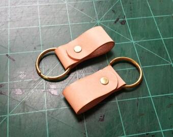 Minimalist Vegetable Tan Leather Key Chain