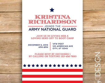 Military going away party invite, send off invitation, Deployment Party, Basic Training, Welcome Home Party, printable, instant download