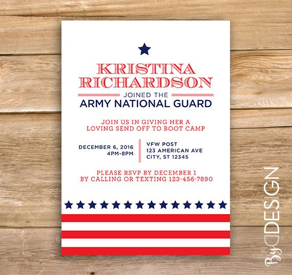 military going away party invite send off invitation