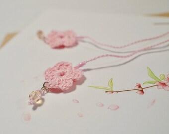Free shipping, Cherry blossom earrings, Cute earrings, Pink earrings, Crochet earrings, Textile earring, One of a kind, Handmade earring