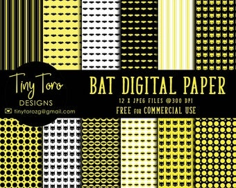 Batman digital paper pack, batman pattern, kids party invitations, handmade supply, printable for scrapbooking, party paper, commercial use