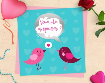 Will Scratchcard marriage announcement - you marry me? -in love birds Valentine