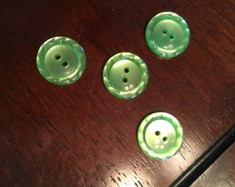 4 Vintage green buttons