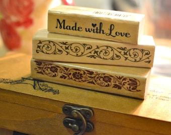 Border rubber stamp I Made with love stamp I Border stamp I Scrapbooking stamp I Stamp  I Sentiment stamp I Wooden stamp I Stamp