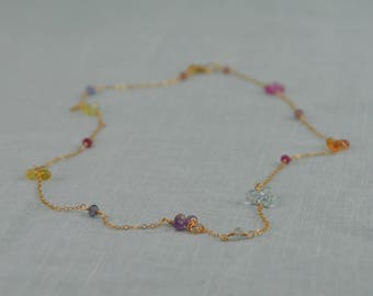 Multi-color sapphire clusters on gold-filled chain