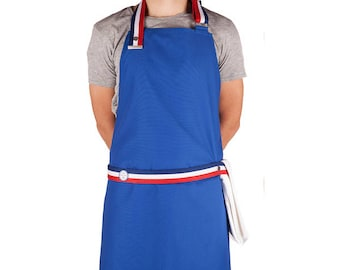 Apron blue white Cook - the strapped - blue / HABs strap - made in France