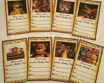 Five Nights at Freddys Invitations, FNAF Invitations, FNAF Party Supplies, Five Nights at Freddys Party Supplies, FNAF