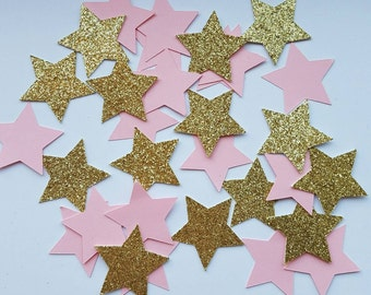 200 Pieces of Gold and Pink Star Confetti. Twinkle Twinkle Confetti.