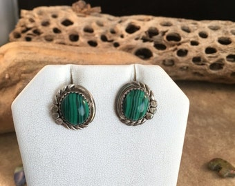 Vintage Navajo Malachite and Sterling Silver Post Earrings