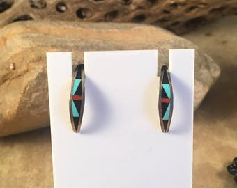 Vintage Zuni Multi Stone and Sterling Silver Inlay Post Earrings