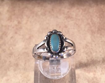 Vintage Navajo Turquoise and Sterling Silver Ring Size 6.5 Signed