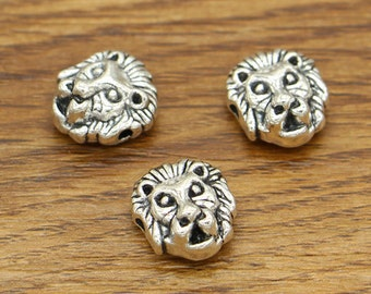 20pcs Leopard Beads Spacers Charms Centered Hole Beads Animal Beads Antique Silver Tone 11x12mm cf2014