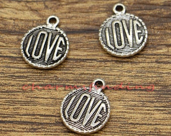 20pcs Love Charms Word Charm 2 Sided Valentine Charms Antique Silver Tone 15x19mm CF0865