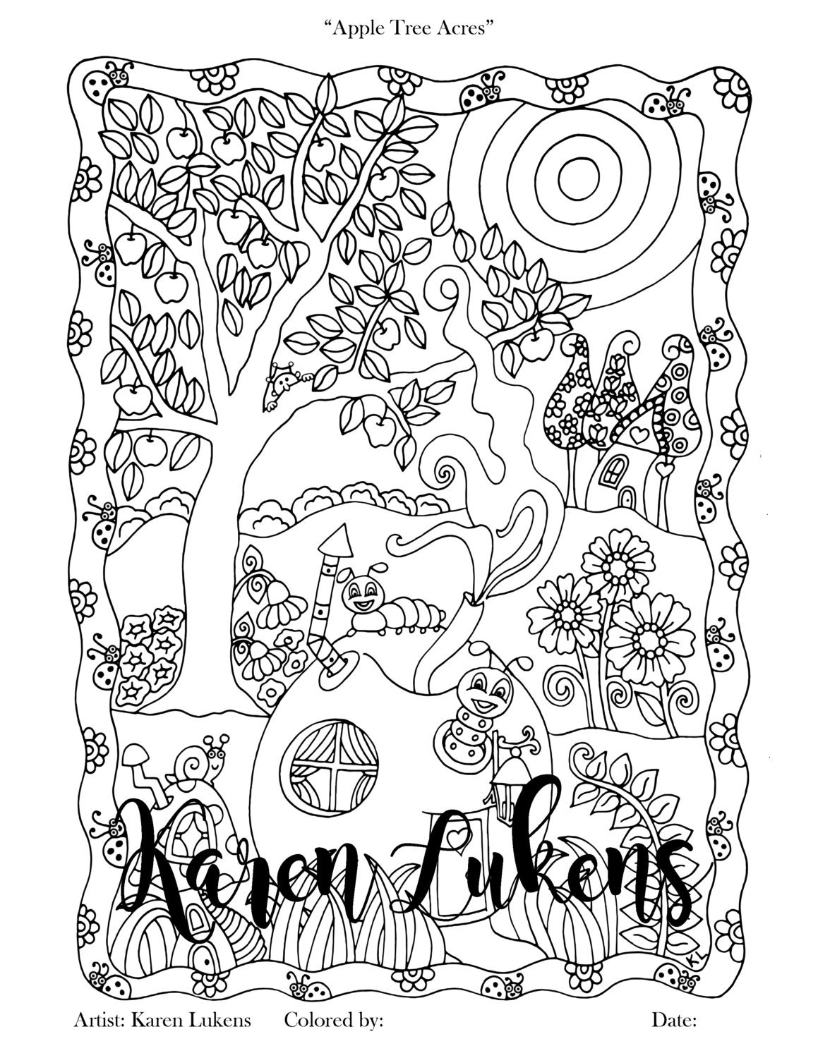 Coloring book page apple tree - Apple Tree Acres 1 Adult Coloring Book Page Printable Instant Download