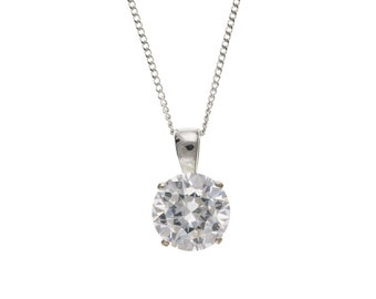 Sterling Silver 10mm Round CZ Pendant & Chain