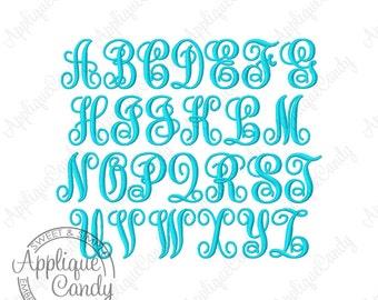 Swirl KK Monogram 1.5 inch Font Machine Embroidery Mini Small Font Satin Stitch INSTANT DOWNLOAD