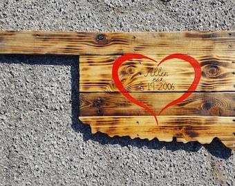 Reclaimed Wood Oklahoma State Sign - Lovers Lane Burnt
