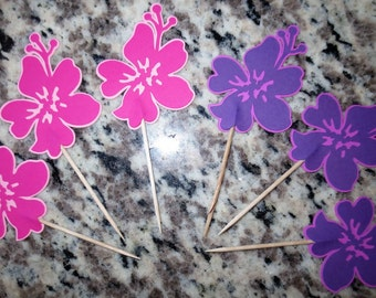 Hawaiian Flower - Hibiscus Cupcake Toppers - One Dozen