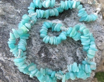 Amazonite Chips Necklace with 925 Silver and Clear Quartz