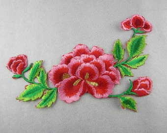 Embroidered Flower Appliques, Iron On Patch
