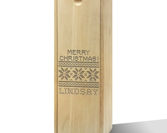 Personalised Christmas Sweater Pattern Wooden Wine Box