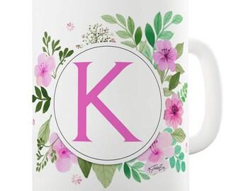 K Floral Letter Border Initial Ceramic Novelty Mug