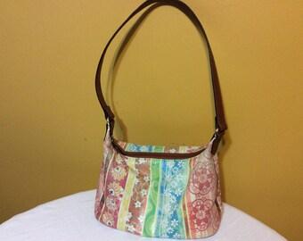 Vintage Fossil Floral Striped Leather Shoulder Bag