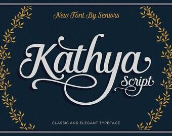 Kathya Script, Wedding Font, Modern Font, Brush Script Font, Logo Font, Calligraphy Font, Classic Font, Vintage Font, Digital Font Download