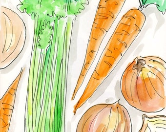 Holy Trinity of Cooking Watercolor, 8x10, 11x14, Archival Print, Print,  Watercolour, Onions, Celery, Carrots, Kitchen Art
