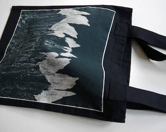 Upcycled Dark Bag with screenprint - Snowdonia