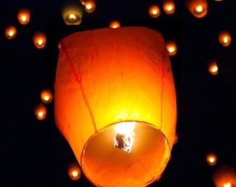10 Flying Chinese fire resistant paper Lanterns