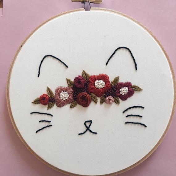 Cat embroidery hoop art by threadsinstead on etsy