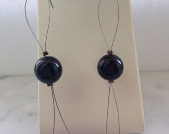 Black loop drop earrings