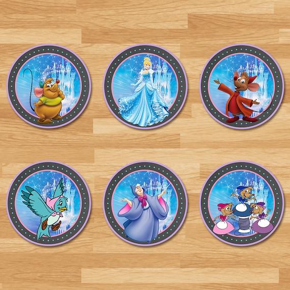 Cinderella Cupcake Toppers - Chalkboard - Cinderella Stickers - Disney Princess Toppers - Cinderella Printables - Cinderella Party Favors