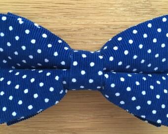 Men's Bow Tie, Bow Tie for Men, Blue and White Polka Dot Corduroy Bow Tie