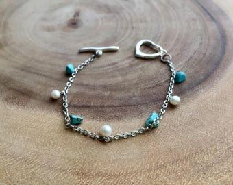 Heart bracelet, turquoise bracelet, boho jewelry, pearl bracelet, Bridesmaids gift, Love jewelry, summer jewelry, evil eye bracelet