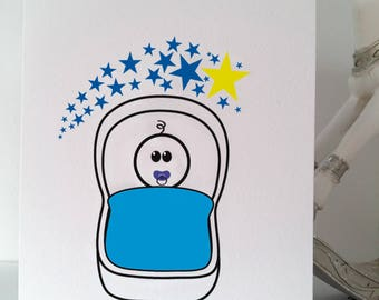 New Baby Boy Greeting Card, Baby, Boy, New baby boy, New son, Son, Blue, Wedding, Birthday, New Baby, Love, Father's Day, Stickmen, Handmade