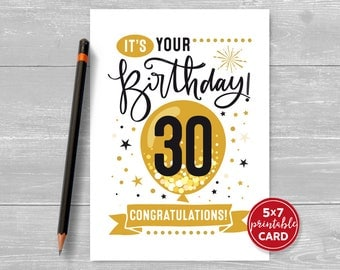 """Printable 30th Birthday Card - Congratulations Thirty Balloon Birthday Card - 5""""x7"""" plus printable envelope template. Instant Download."""