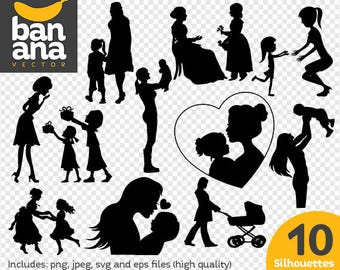 Mother's Day silhouettes clipart png jpg svg eps files high resolution BV-CL-0277