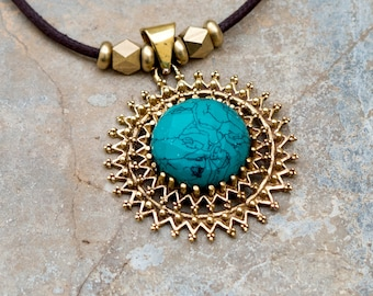 Long Turquoise Necklace // Turquoise Pendant Necklace // Retro Turquoise Necklace // Brass Pendant Necklace // Turquoise Charm Necklace