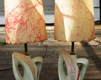 Pair of Fabulous Fifties Plaster Lamps by Plasto Mfg. Co.