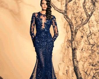 Blue wedding dress,  Dark blue wedding dress, Mazarine wedding dress, Navy blue wedding dress, Wedding dress with sleeves