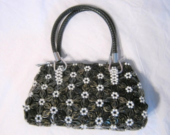 Women's Flower Beaded Purse Handbag Evening Bag