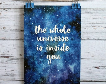 Postcard The whole unverse is inside you, stars print, stars poster, cosmos print, galaxy watercolor, stars drawing, night sky, art, card