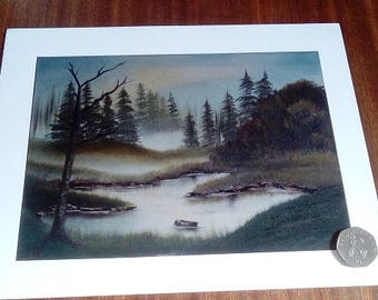 Oil Painting Landscape Original Print - Misty Autumn Lake