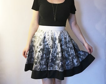SALE 50% OFF Abstract Print Skirt, Hand Dyed Circle Skirt, High Waist Skirt, Full Circle Skirt, Cotton Skirt, Skater Skirt, Size 8 - 10