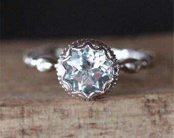Vintage Aquamarine Engagement Ring VS 7mm Round Cut Aquamarine Ring Stackable Ring Birthstone Ring Promise Ring 14K White Gold Gemstone Ring