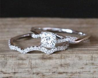 2pcs Moissanite Engagement Ring Set 5mm Cushion Cut Forever Brilliant Moissanite Ring Half Eternity Wedding Ring Set 14K White Gold Ring Set
